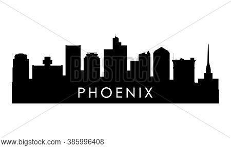 Phoenix Skyline Silhouette. Black Phoenix City Design Isolated On White Background.