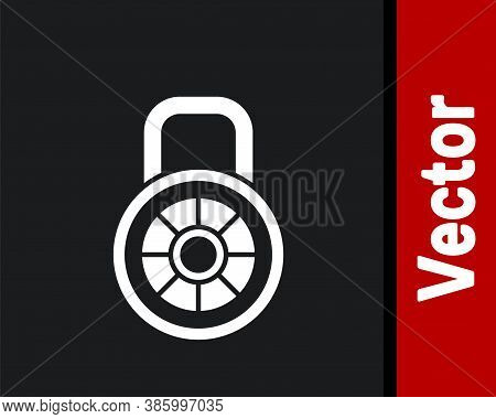 White Safe Combination Lock Icon Isolated On Black Background. Combination Padlock. Security, Safety
