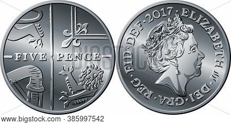 British Money Silver Coin Five Pee Or Five Pence, Reverse With Segment Of Royal Shield And Obverse W