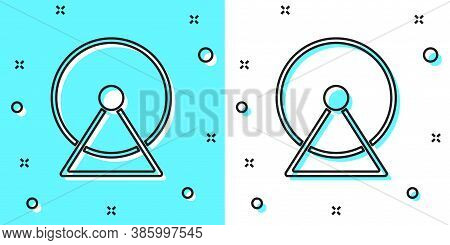 Black Line Hamster Wheel Icon Isolated On Green And White Background. Wheel For Rodents. Pet Shop. R