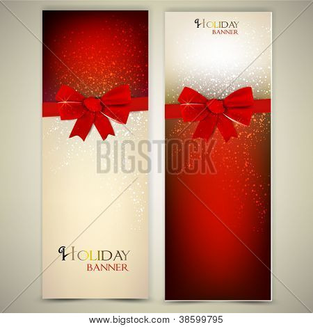 Greeting cards with red bows and copy space. Vector illustration