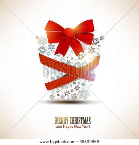 Weihnachts-Geschenk-Box hergestellt aus Schneeflocken. Weihnachten Hintergrund