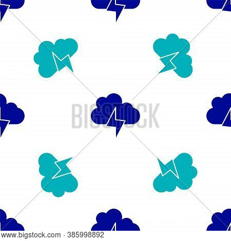 Blue Storm Icon Isolated Seamless Pattern On White Background. Cloud And Lightning Sign. Weather Ico