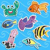 seven cute color  cartoon sea animal stickers poster