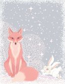 Christmas card with a pink fox and a fluffy hare in the forest poster