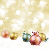 Christmas vintage background with baubles on snow. Check my portfolio for vector version. poster