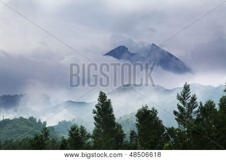 Mountain Landscape With Fog