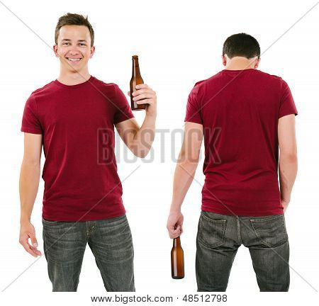 Male With Blank Burgundy Shirt And Drinking Beer