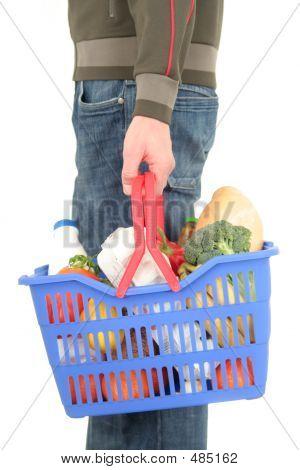 Man Holding Shopping Basket