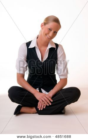 Young Woman Sitting On The Bottom