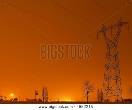 Power Pole At Midnight