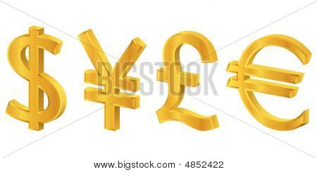 3D Gold Currency Symbols
