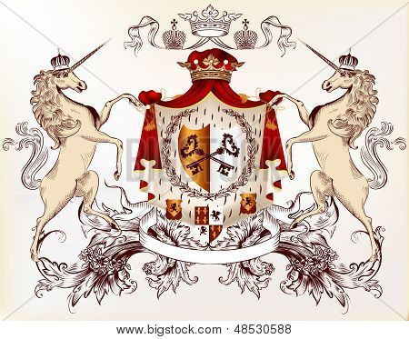 Vector heraldic illustration in vintage style with shield armor crown and horses for design poster