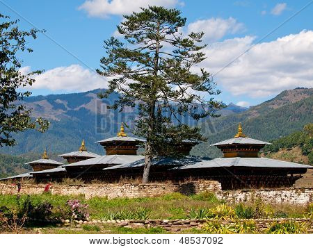 View Of A Monastery In Jakar In The Bumthang Valley (bhutan)