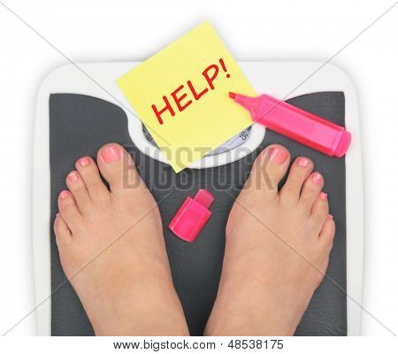 Woman' s feet on bathroom scale poster