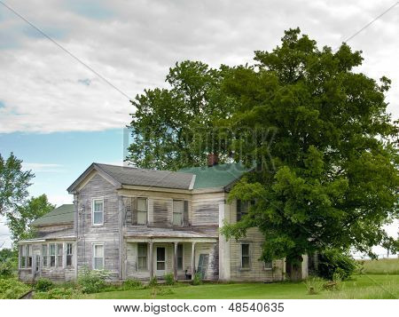 Old Gray House In Upper  New York State.