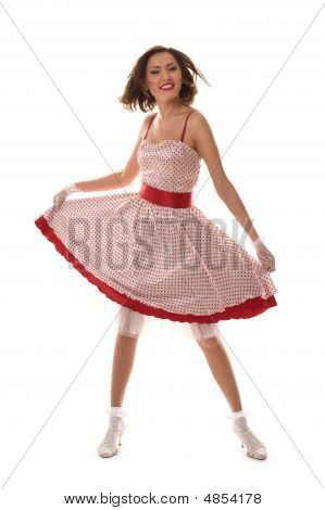 Dance. Fantastic positive girl in retro dress. Isolated over white poster