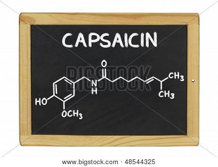chemical formula of capsaicin on a blackboard