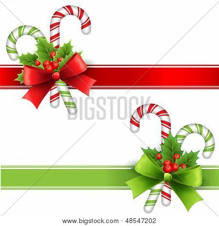 Vector illustration Christmas decoration with holly and candy poster