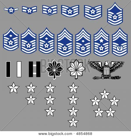 US Air Force rank insignia for officers and enlisted in vector format poster