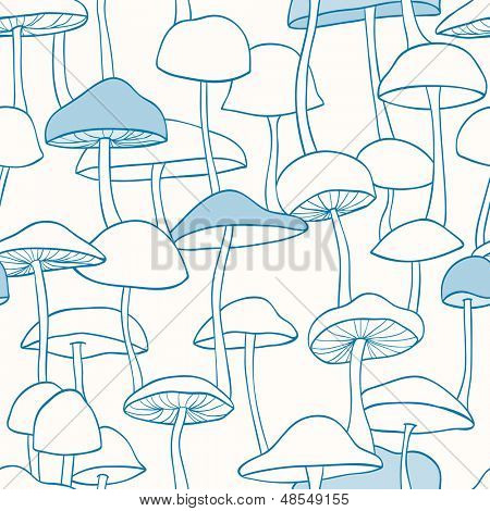 Blue Mushroom Pattern