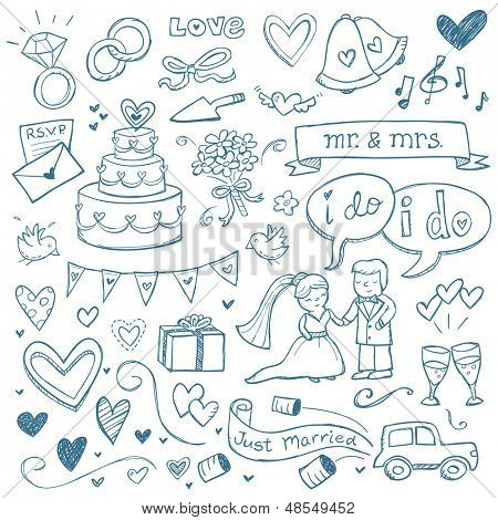 Wedding illustrations drawn in a doodled style.