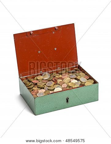 open cash box on a white background