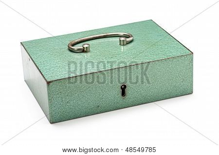 closed cash box on a white background