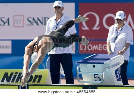 Jul 25 2009; Rome Italy; Peter Vanderkaay (USA) competing in the men's 400m Freestyle at the 13th Fina World Aquatics Championships held in the The Foro Italico Swimming Complex.