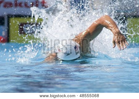 Jul 02 2009; Rome Italy; Nathan Adrian competing in the qualification rounds of the mens 4 x 100m medley, at the 13th Fina World Aquatics Championships held in the The Foro Italico Swimming Complex.