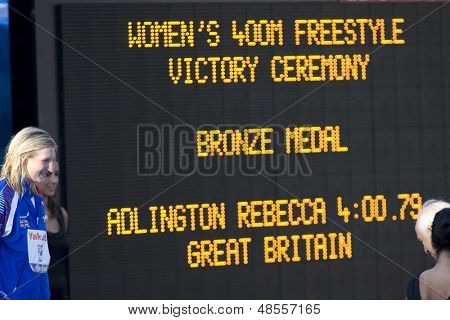 Jul 26 2009; Rome Italy; Rebbeca Adlington (GBR) bronze medalist  in the 400m freestyle event at the 13th Fina World Aquatics Championships held in the The Foro Italico Swimming Complex.