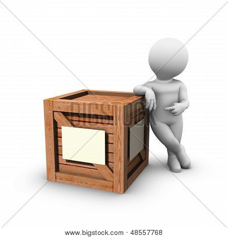 Pointing At Wooden Crate