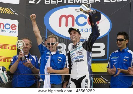 27 Sept 2009; Silverstone England: Rider number 2 Leon Camier (GBR) riding for Airwaves Yamaha with trophy and his team at the prize giving ceremony at the British Superbike Championship: