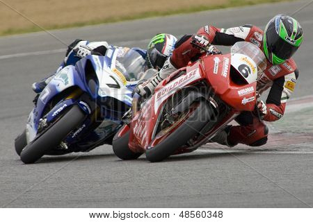 26 Sept 2009; Silverstone England: Rider number 6 Tristan Palmer GBR riding for Kawasaki and Rider number 7 James Ellison (GBR) riding for Airwaves Yamaha  at the British Superbike Championship: