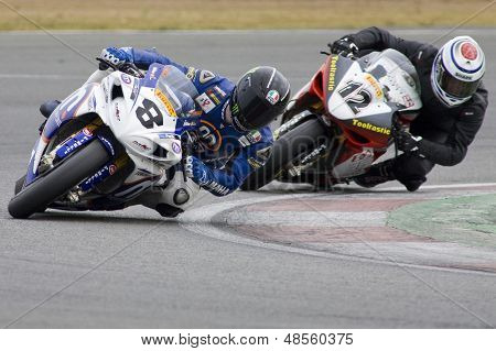 26 Sept 2009; Silverstone England: Rider number 8 Graeme Gowland GBR and Rider number 12 David Johnson AUS during the free practice session of the British Superbike Championship: