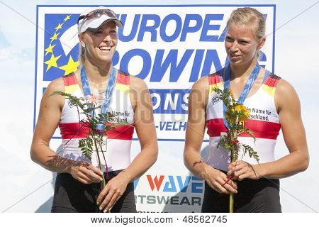 MONTEMOR-O-VELHO, PORTUGAL 12/09/2010. German team, HARTMANN Kerstin SINNIG Marlene, silver medal winners in the womens pairs at  the 2010 European Rowing Championships held at the Aquatic Centre