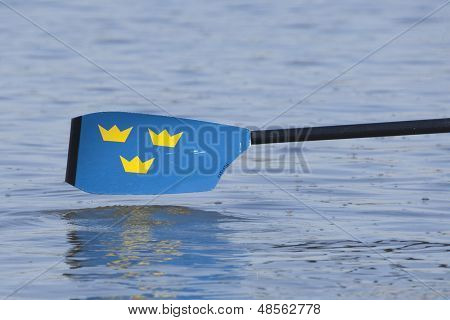 MONTEMOR-O-VELHO, PORTUGAL 10/09/2010. A Swedish oar blade at the 2010 European Rowing Championships held at the aquatic centre, Montemor-o-Velho, Portugal.
