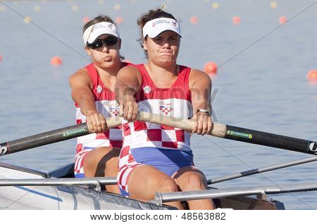 MONTEMOR-O-VELHO, PORTUGAL 10/09/2010. Croatian team, KESERAC Sonja ANIC Maja competing in the womens double at the 2010 European Rowing Championships held at the aquatic centre