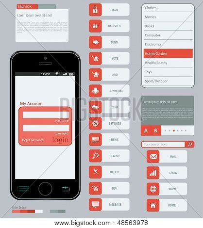Interface elements using flat design in editable vector format