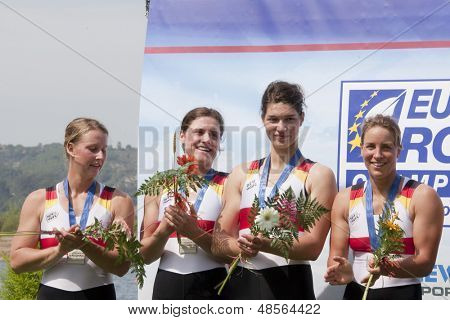 MONTEMOR-O-VELHO, PORTUGAL 12/09/2010. OPPELT Britta BAER Carina MANKER Tina RICHTER Julia silver in the Women's Quadruple Sculls at the 2010 European Rowing Championships held at the Aquatic Centre,