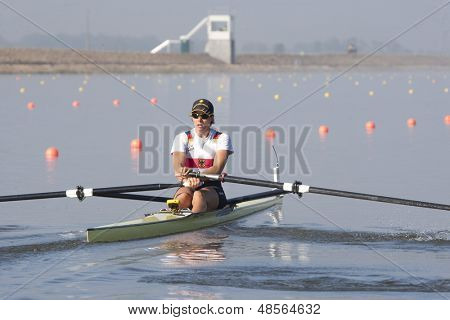 MONTEMOR-O-VELHO, PORTUGAL 10/09/2010. DRAEGER Marie-Louise (GER) competing in the single sculls at the 2010 European Rowing Championships held at the aquatic centre, Montemor-o-Velho, Portugal.