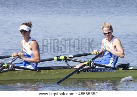 MONTEMOR-O-VELHO, PORTUGAL 10/09/2010. Dutch team, SIGMOND Rianne HEAD Maaike, competing in the Lightweight Women's Double Sculls at the 2010 European Rowing Championships held at the aquatic centre