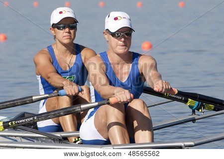 MONTEMOR-O-VELHO, PORTUGAL 10/09/2010. Finnish team, NIEMINEN Minna STEN Sanna competing in the Women's Double Sculls at the 2010 European Rowing Championships held at the aquatic centre,