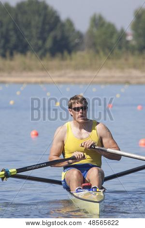 MONTEMOR-O-VELHO, PORTUGAL 10/09/2010. KARONEN Lassi (SWE) competing in the Men's Single Sculls at the 2010 European Rowing Championships held at the aquatic centre, Montemor-o-Velho, Portugal.