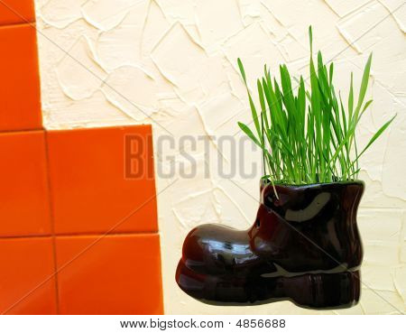 Hopping Boot With Green Grass