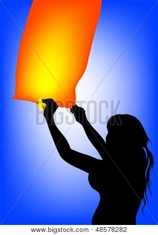 Vector image of young boy and girl with air lantern. Property release is attached to the file