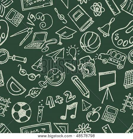 Seamless school stuff doodles hand drawn