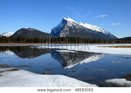 Reflectioan of Mount Rundle on Vermilion Lakes in winter, Canadian Rockies (inscribed on the UNESCO World Heritage list), Canada poster