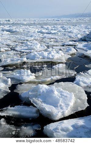 Floating ice on Okhotsk Sea in Shiretoko (inscribed on the UNESCO World Heritage list) in winter, Hokkaido, Japan poster