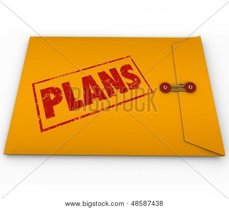 The word Plans on a yellow envelope to illustrate secret covert operations or other classified confidential planning information